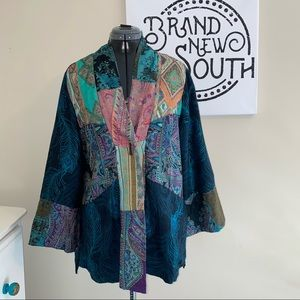 Soft Surroundings Peacock Patchwork Jacket